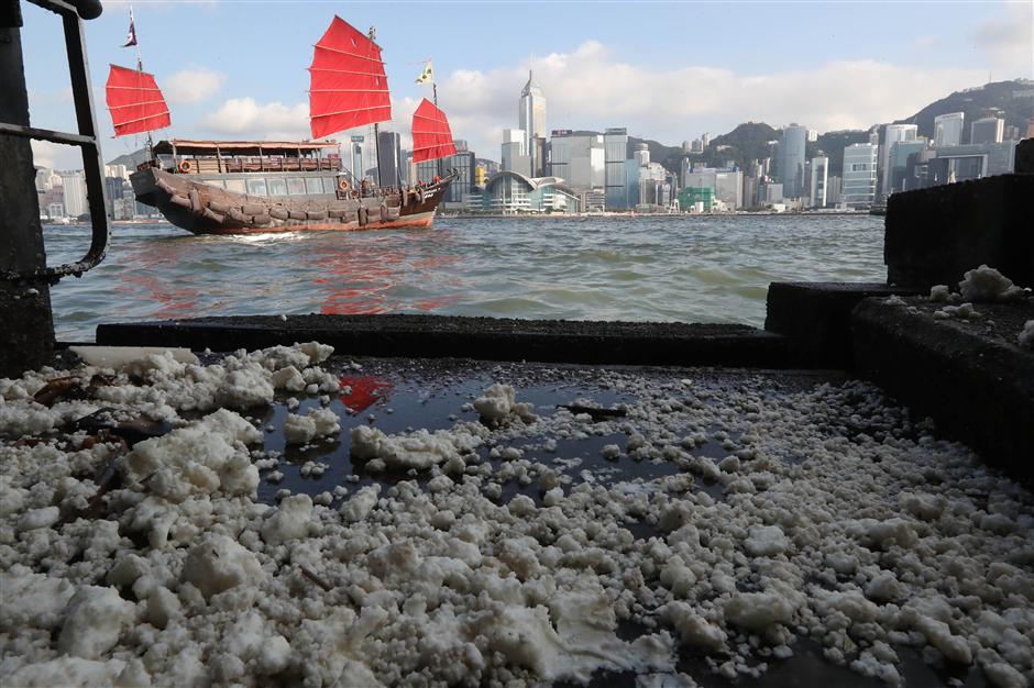 Beaches shut after palm oil spill in Hong Kong