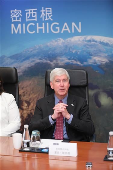 Michigan governor visits Shanghai on last leg of tour to boost trade