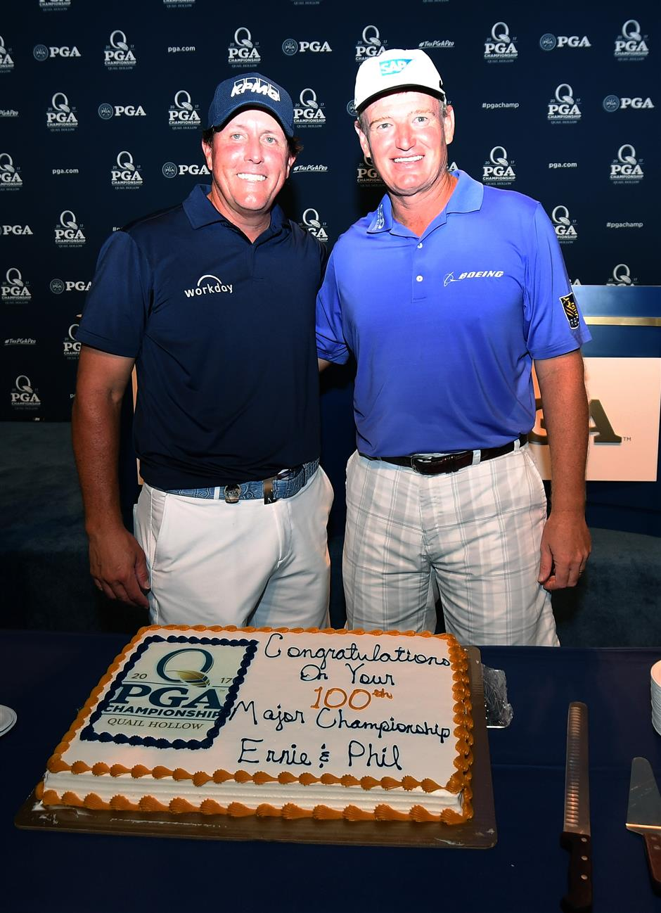 Mickelson, Els reach milestone together in 100th major