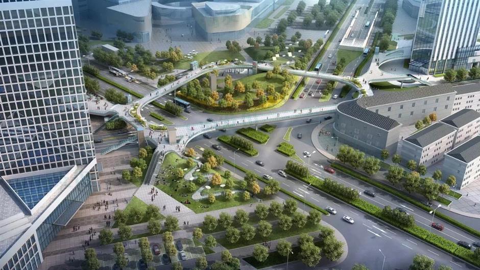 New skywalk forYangpu town