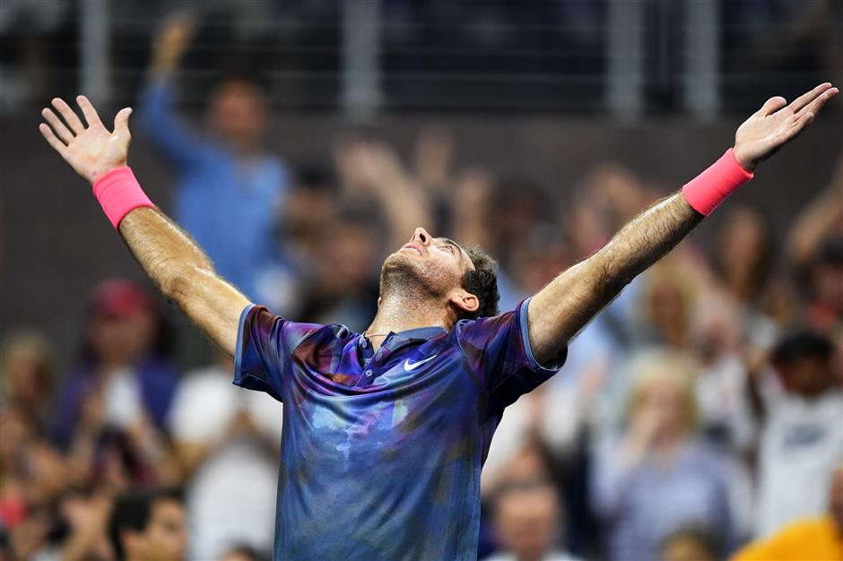2009 US Open champion del Potro saves match points; Federer next
