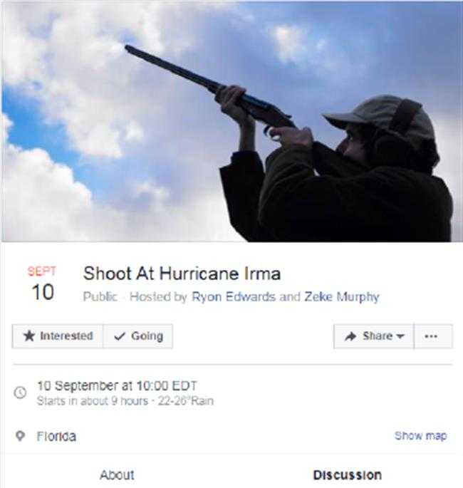 Florida man's whim to shoot at Hurricane Irma attracts over 50,000 Facebook users
