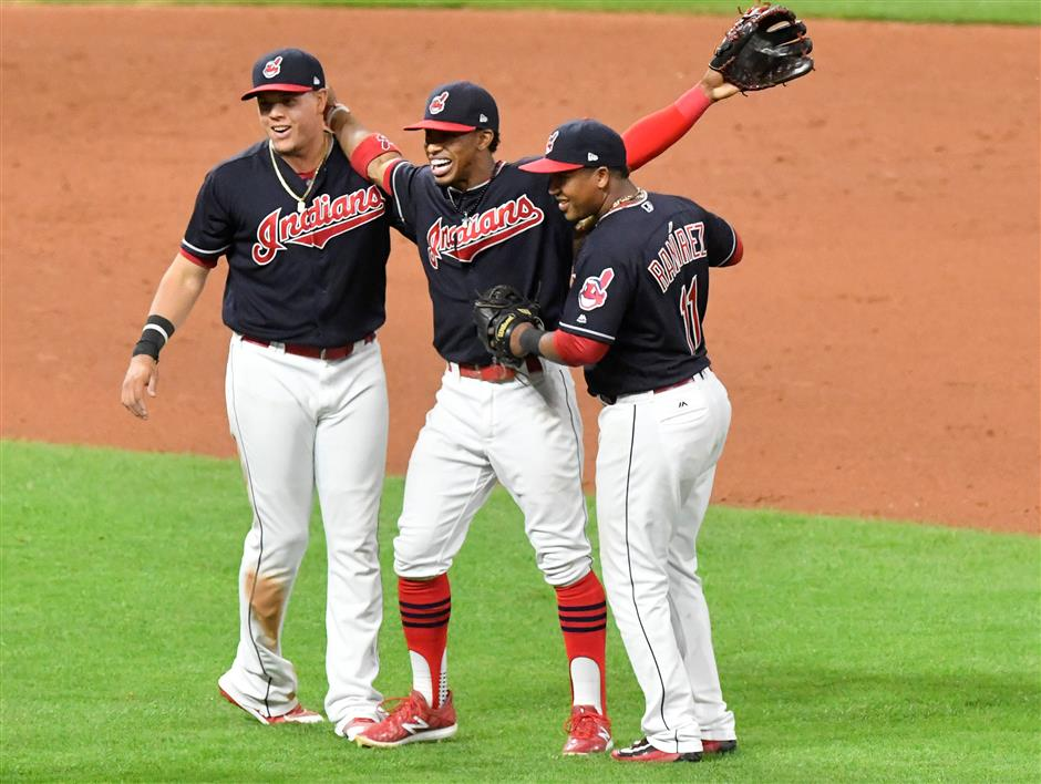 Indians tie AL record with 20th straight win
