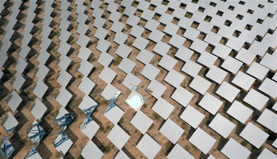 Solar thermal power project installed seen in NW China