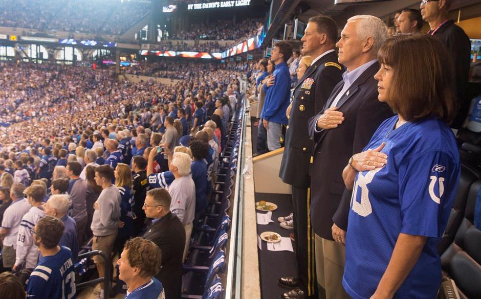 Pence exits game after anthem protest