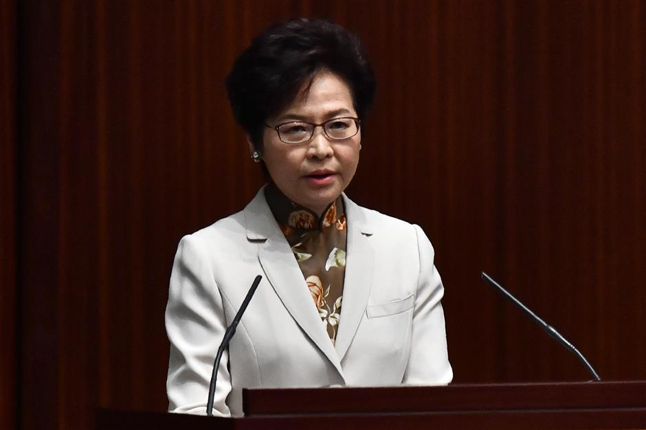 HK chief executive highlights economy, livelihood, housing in policy address