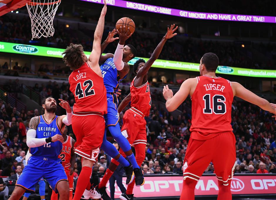 Westbrook's triple-double leads Thunder over anemic Bulls