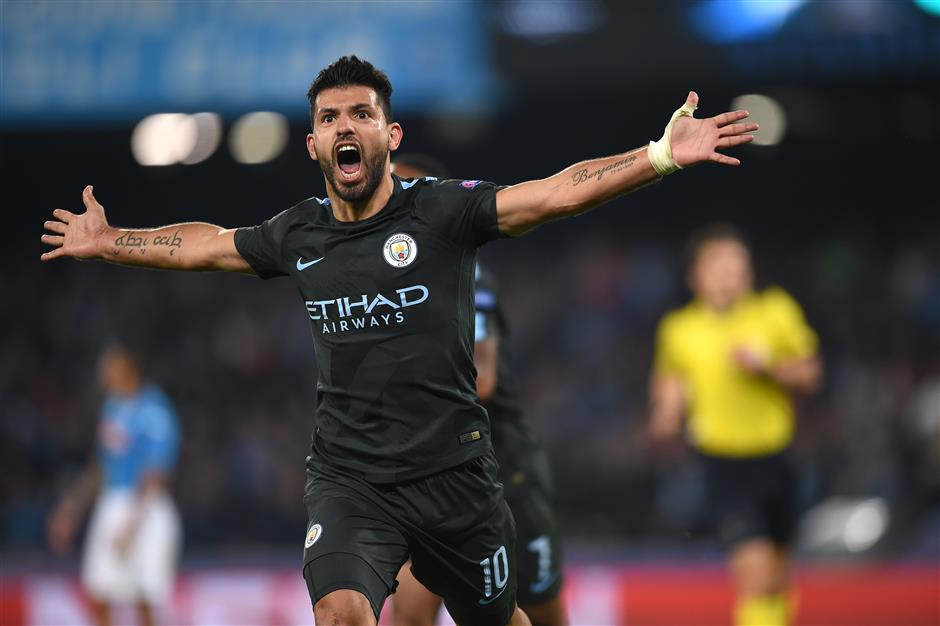 Aguero hailed as City legend after record goal No. 178