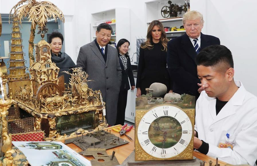 Xi, Trump visit Palace Museum conservation workshop