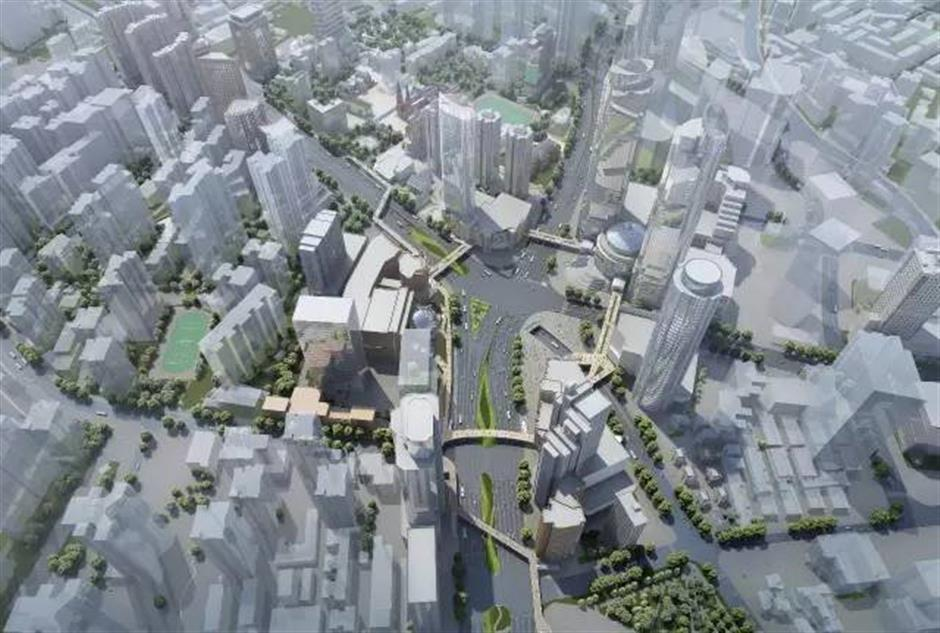 Ring-shaped skywalkunder construction in Xujiahui