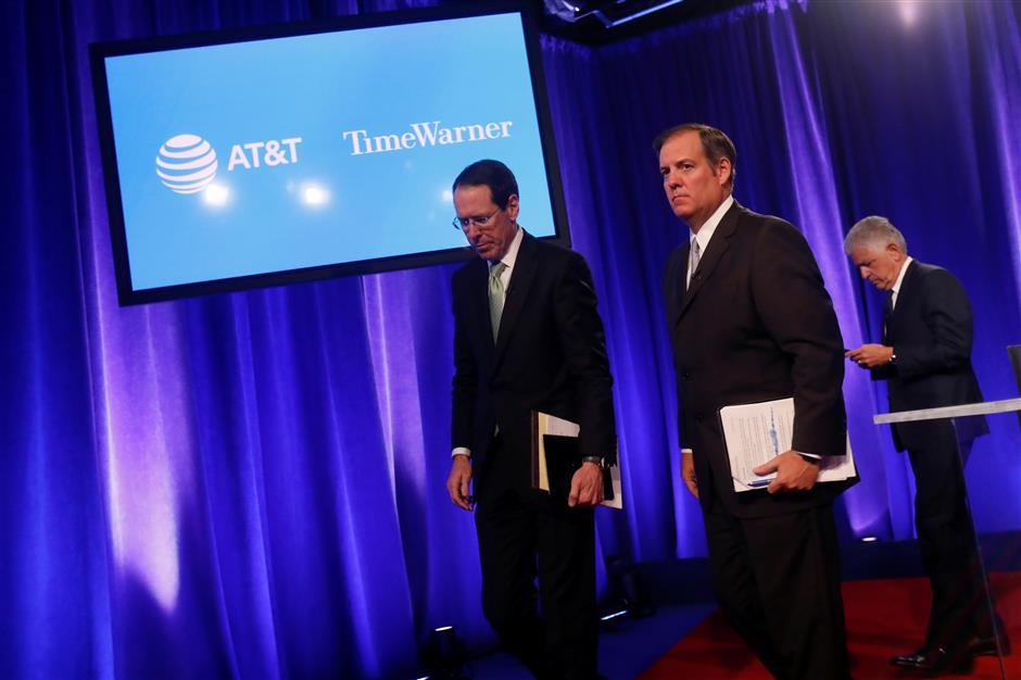 AT&T sued to halt US$85b Time Warner buy