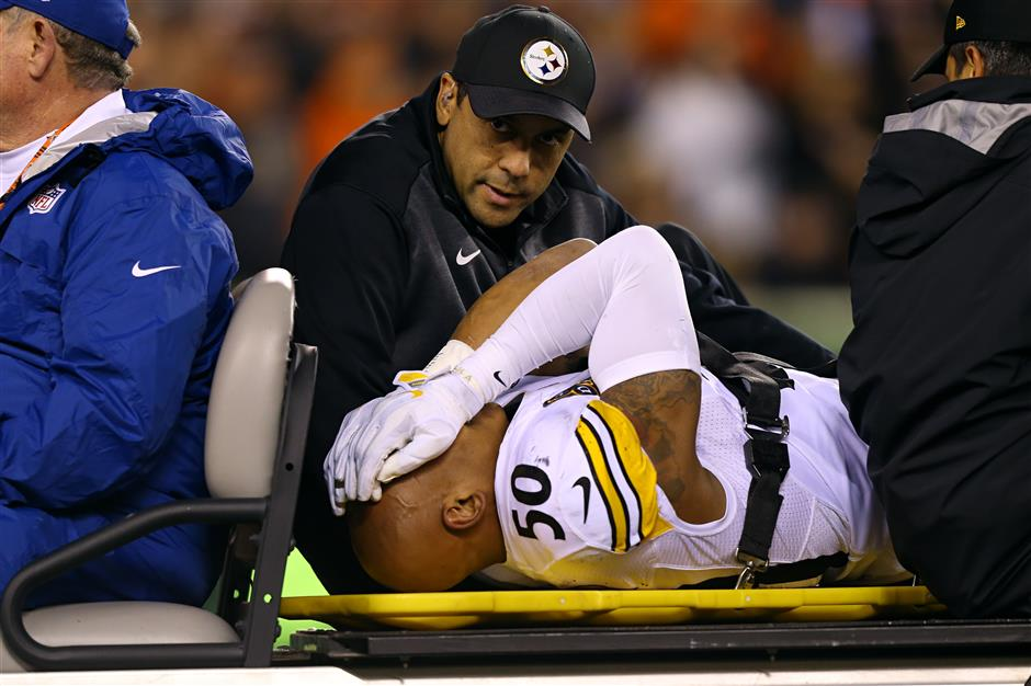 Steelers LB Shazier taken to hospital with back injury in game against Bengals