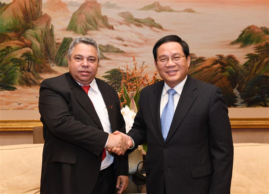 Shanghai Party Secretary Li Qiang meets Cuban guests