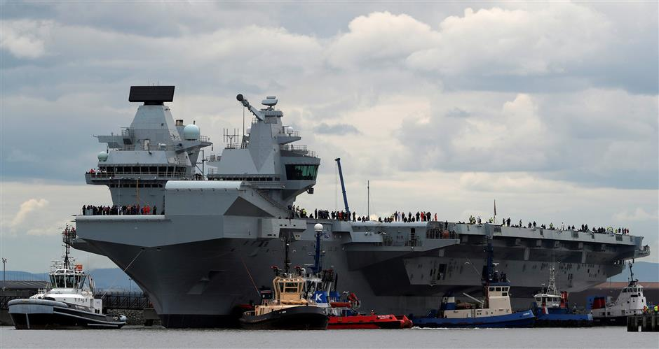 Britain's giant new warship springs a leak