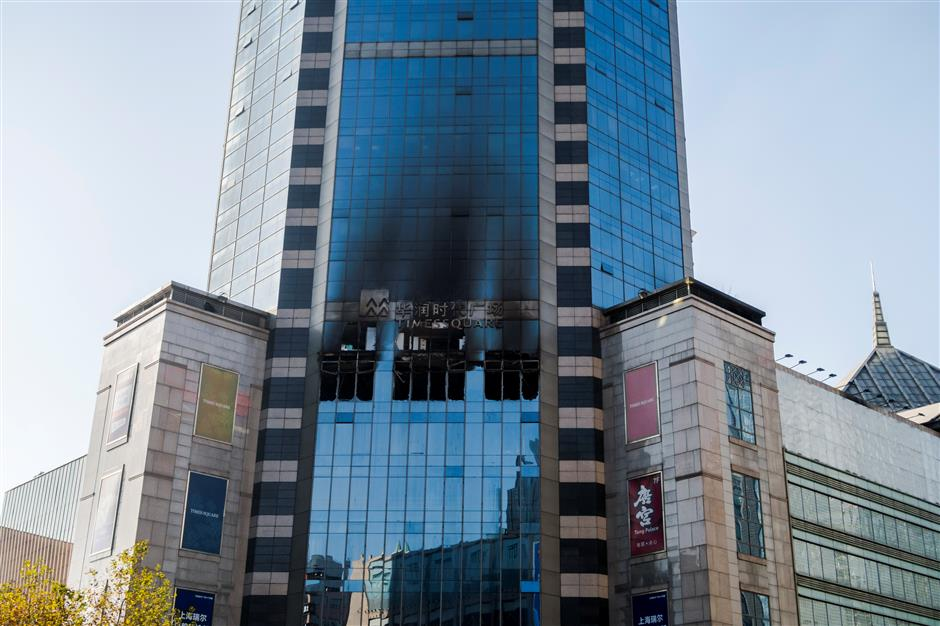 Five detained over Pudong shopping mall fire