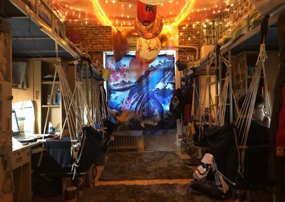 Students' dorm room turned into traditional Japanese bar