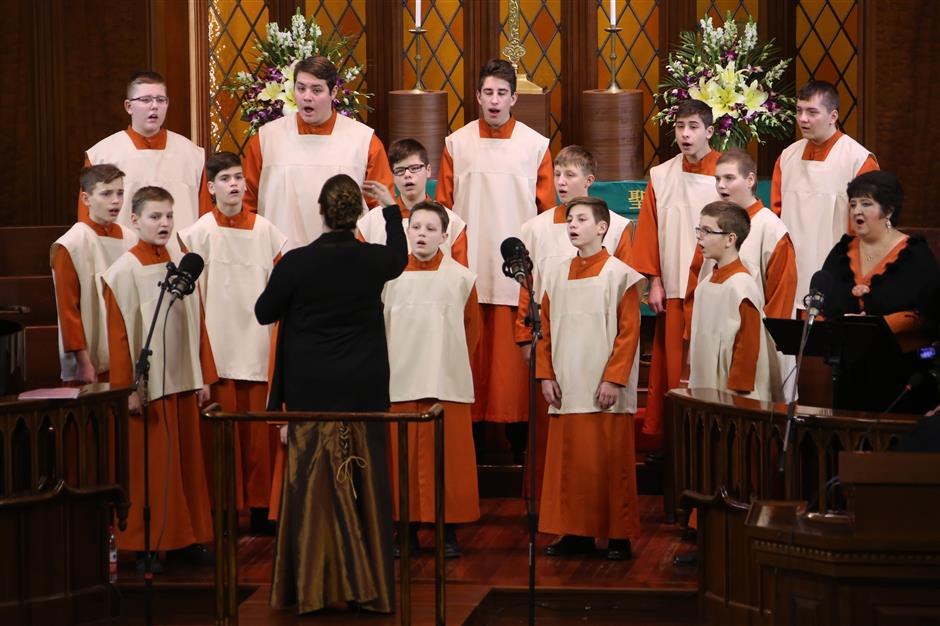 Celebrating new year with Hungarian boys' choir at Moore Memorial Church