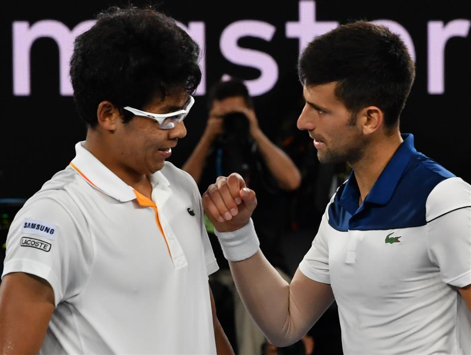 Chung pulls off stunning upset with victory over Djokovic at Australian Open