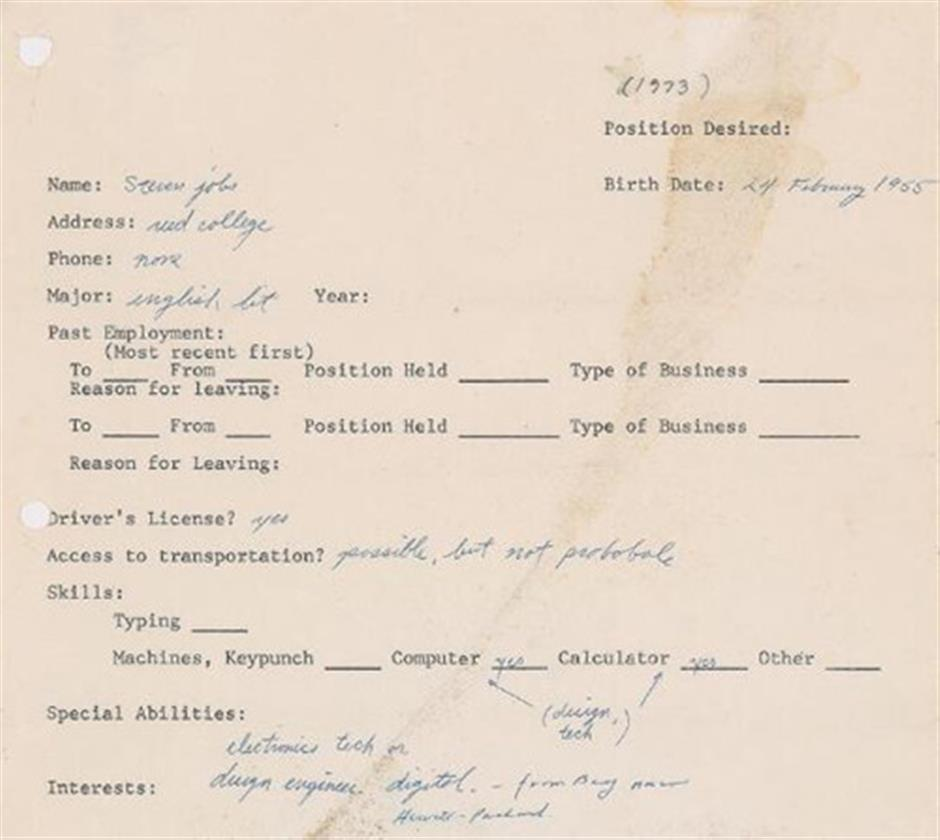 Steve jobs 1973 job application up for sale shine a job application filled out by the late apple co founder steve jobs will go up for auction in march and is expected to fetch more than us50000 falaconquin