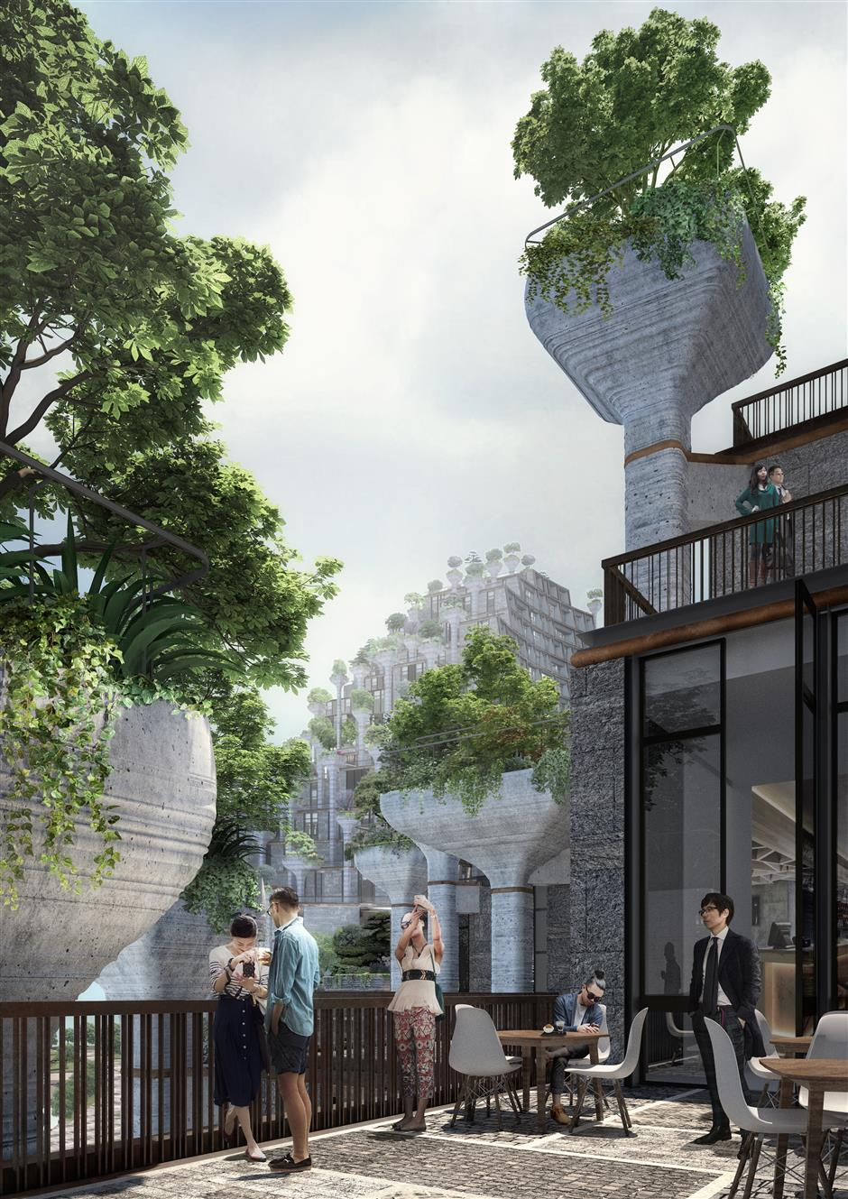 Hanging gardens with 1,000 trees take shape along Suzhou Creek