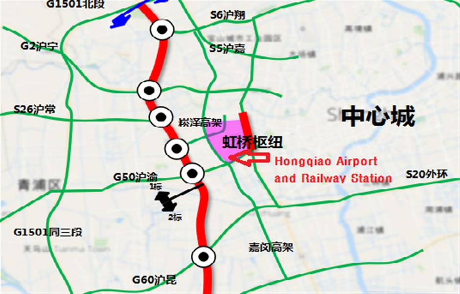 Revamp for expressway near Hongqiaoairport and railway station