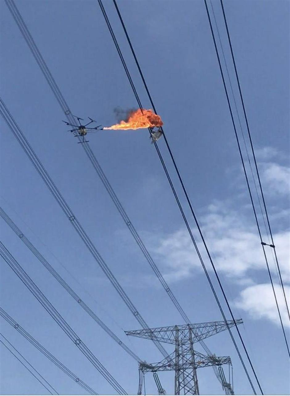 Laser guns and flamethrowers taking out hazardous objects overhead