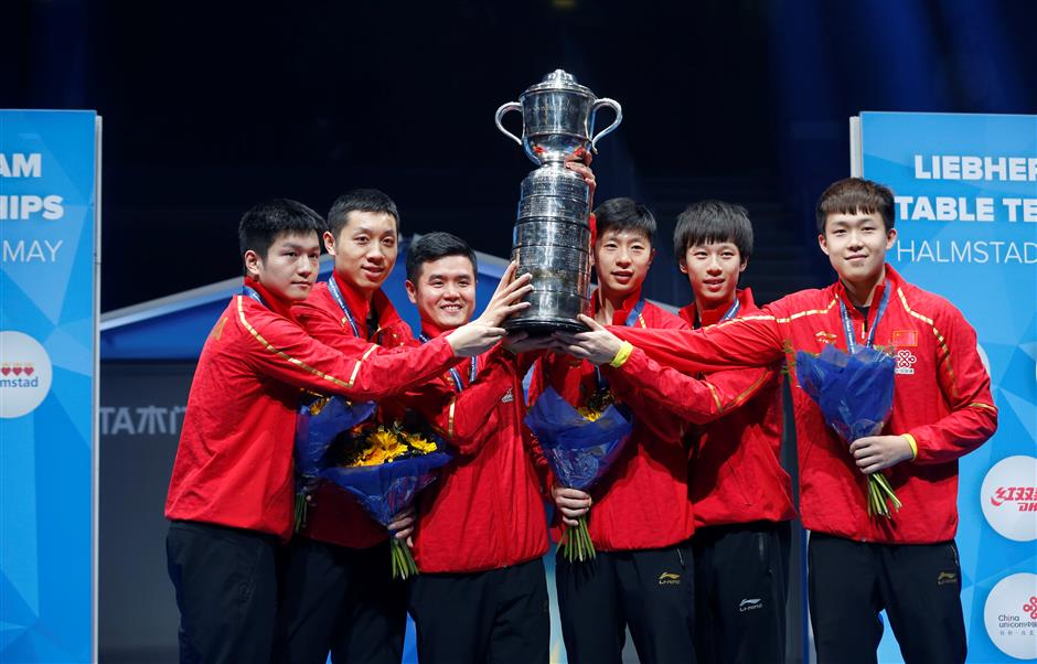 China's men's team win 9th consecutive title at table tennis worlds