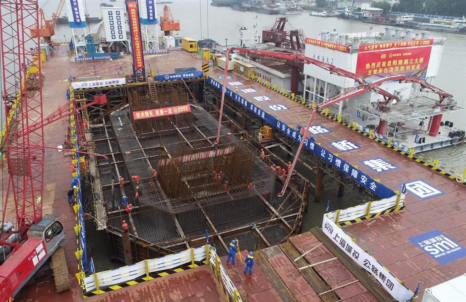 Milestone foundation completed for new Huangpu River bridge