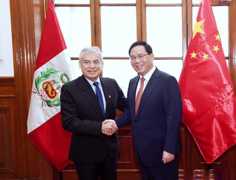 Shanghai Party chief visits Peru and meets with Prime Minister Cesar Villanueva