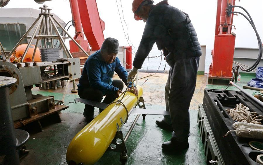 China's 9th Arctic Expedition Team launches underwater glider in Bering Sea