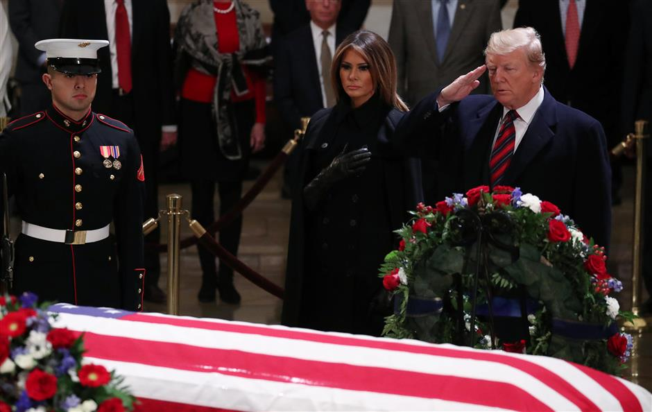 Trump pays respects to late president Bush at US Capitol