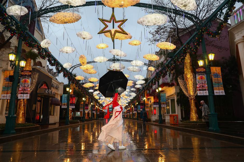 Amusement park lit up for festival