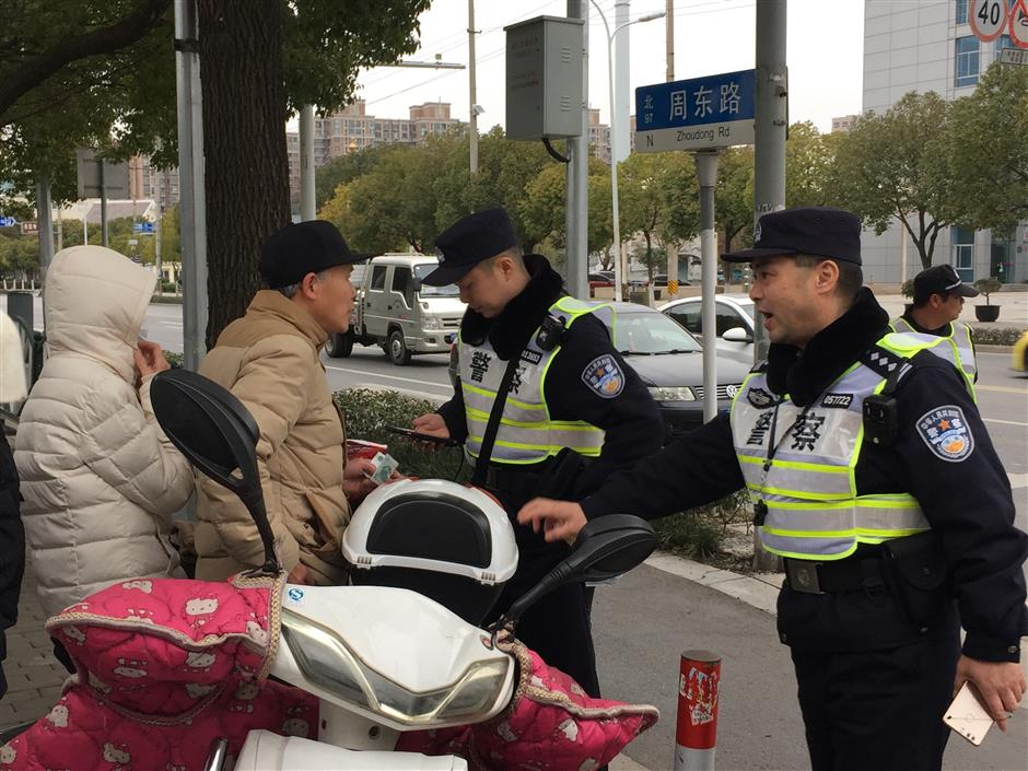 No holiday for Zhoupu's police