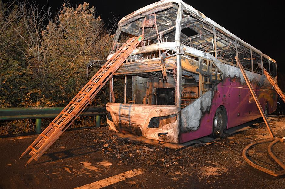 Coach fire in central China caused by passenger carryingexplosives