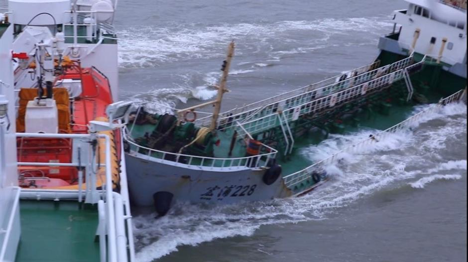 Ship collides with patrol vessel as it tries to flee