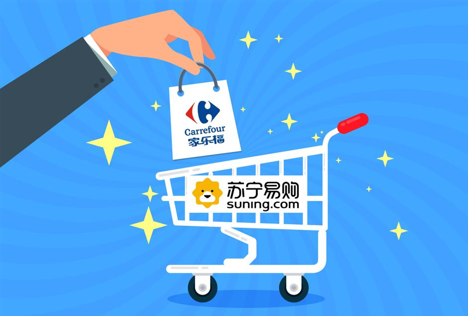 Suning.com to pay cash for 80-percent Carrefour China stake