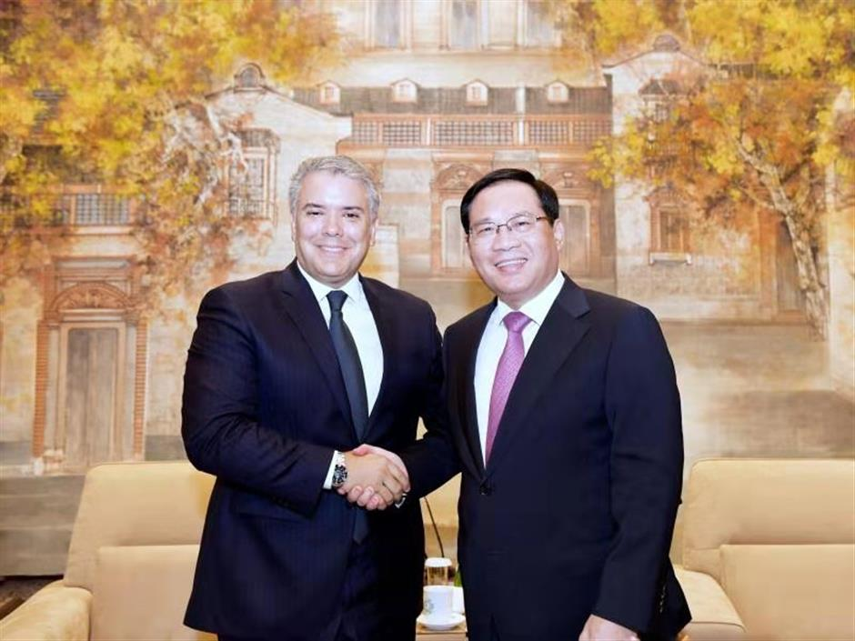 Party secretary meets Colombia president