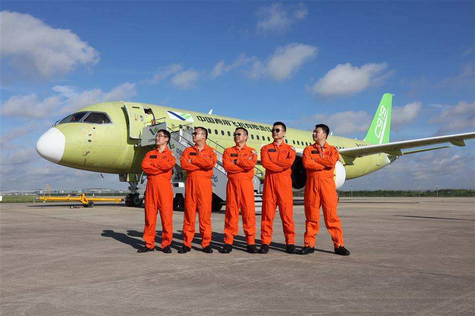 Fourth C919 completes maiden flight at Pudong airport