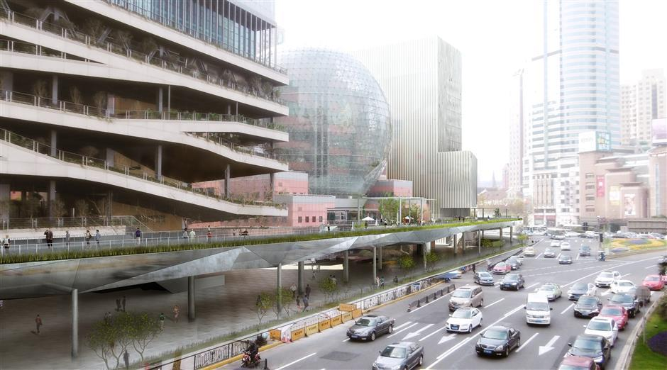 Skywalk nears completion at Xujiahui malls