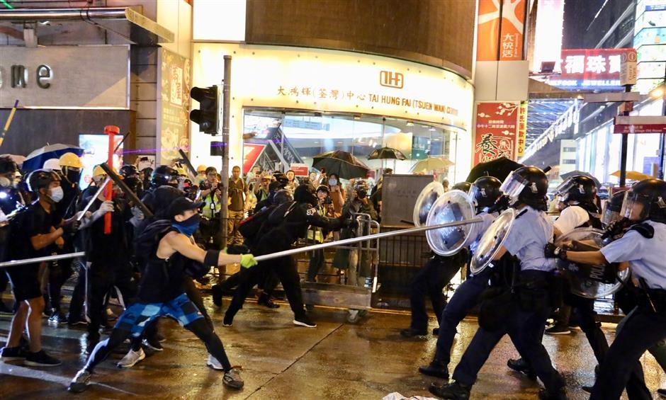 Hong Kong protests turn violent, several policemen injured