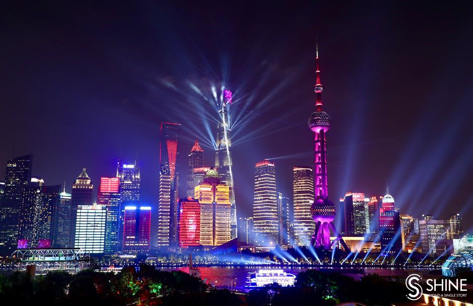 Shanghai dazzled with special anniversary light show