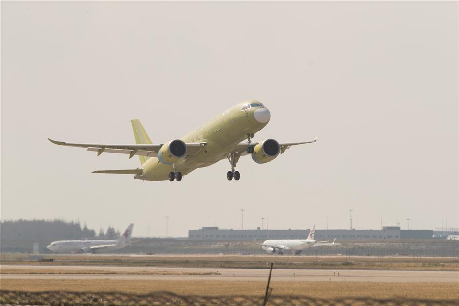 Fifth C919 takes off from Pudong airport