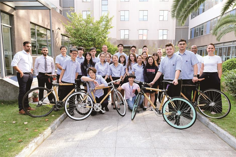 YCIS Pudong startup builds bamboo bikes