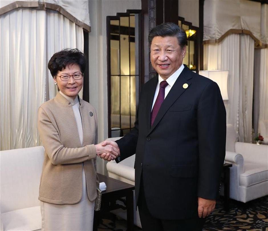 Xi meets HKSAR chief executive