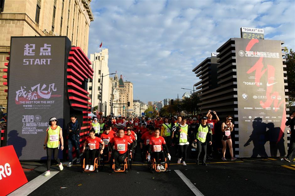 Wheelchair marathon rolls in success