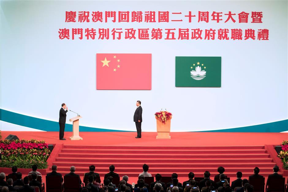 Xi congratulates fifth-term Macau SAR chief executive on assuming office
