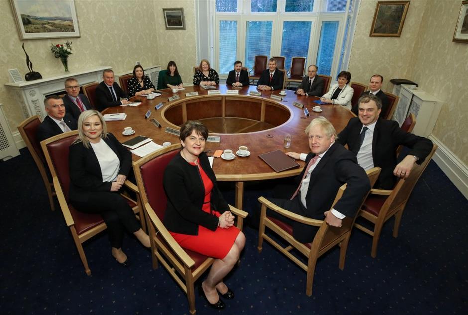 UK PM Johnson visits N. Ireland to meet new executive, Irish PM