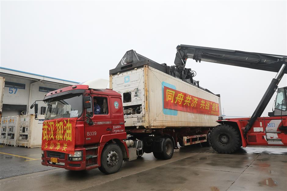 Imported pork leaving Shanghai for Wuhan