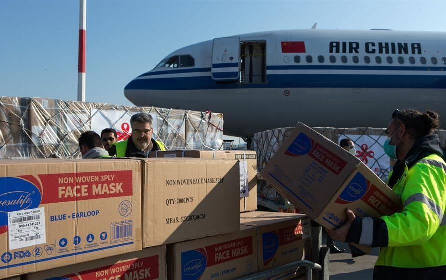Chinese medical supplies arrive in Athens in aid of Greece's COVID-19 fight