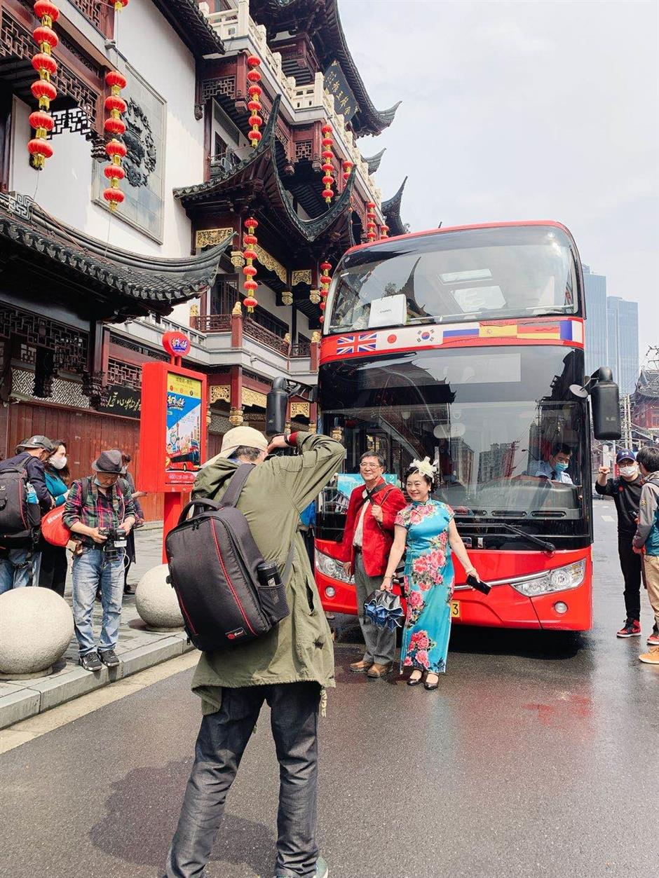 Residents enjoy a tour of their own city